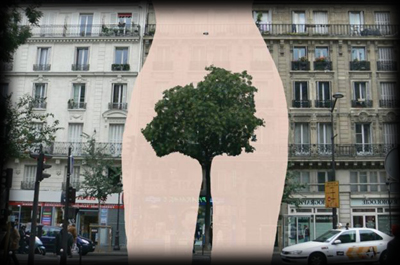 Female body hair is a recurring theme in the work of French street artist Sandrine Boulet.